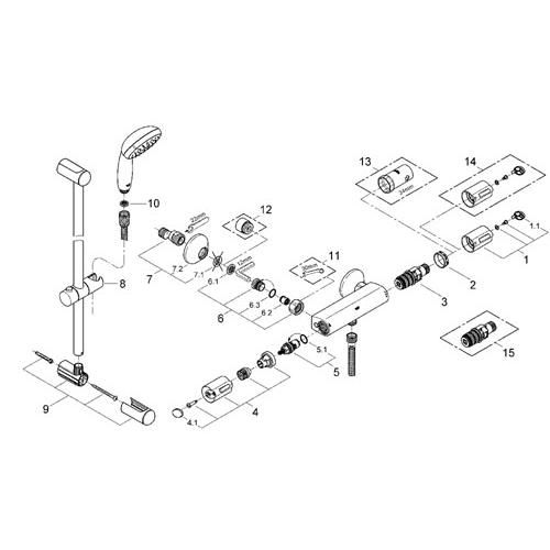 Grohe grohtherm 1000 mitigeur thermostatique douche avec - Mitigeur thermostatique douche grohe grohtherm 1000 ...