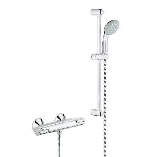 grohe grohtherm 1000 mitigeur thermostatique douche avec barre et pommeau de douche 34151001. Black Bedroom Furniture Sets. Home Design Ideas