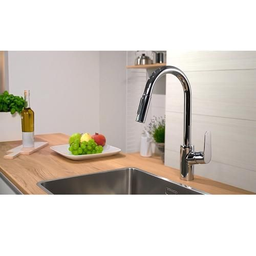hansgrohe focus mitigeur cuisine chrom 2jets avec douchette extractible 31815000. Black Bedroom Furniture Sets. Home Design Ideas