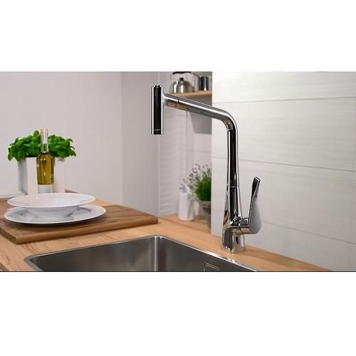 hansgrohe metris mitigeur cuisine chrom 2jets avec douchette extractible 14820000. Black Bedroom Furniture Sets. Home Design Ideas